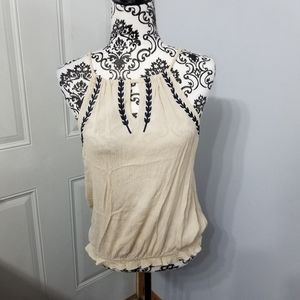 Cream and navy floral Maurices sz small tank BOHO